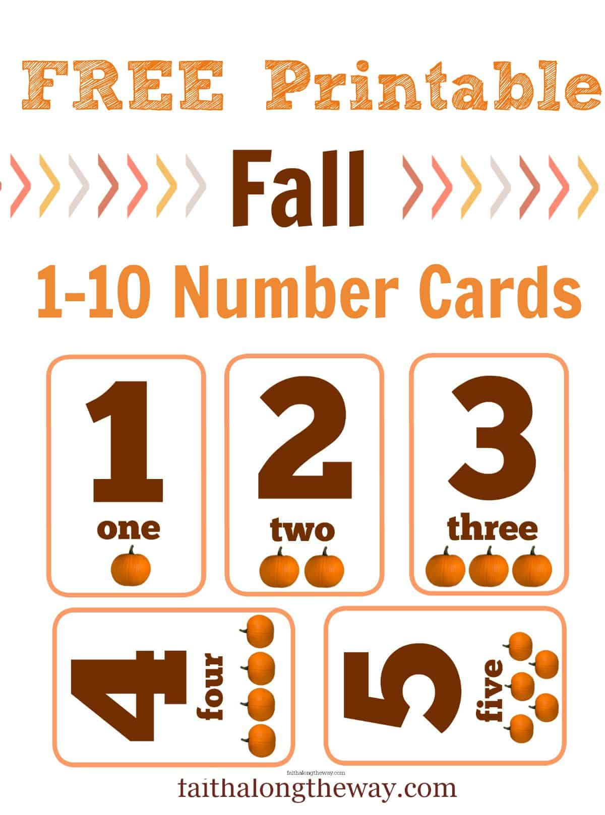 Free Printable Fall 1-10 Number Cards