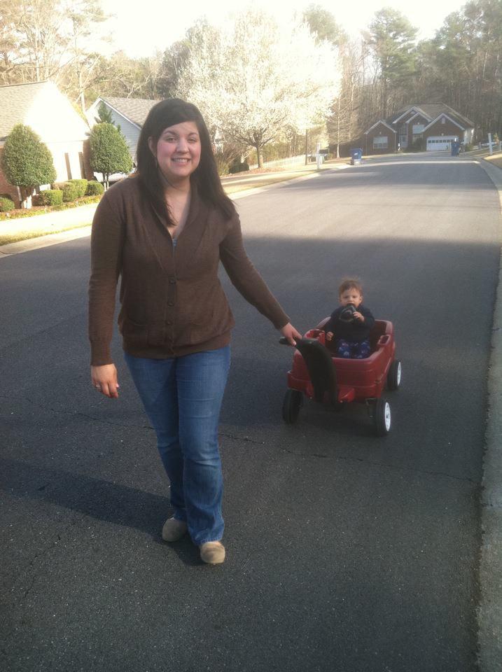 sister with wagon