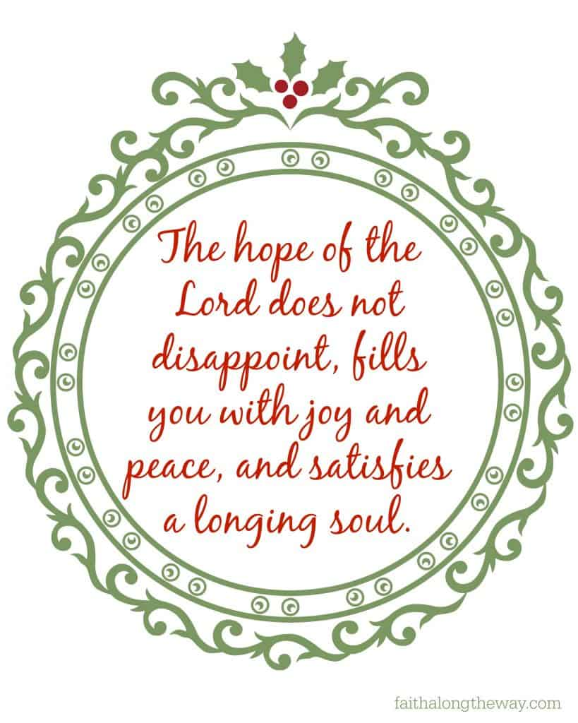 The hope of the Lord printable Faith Along the Way