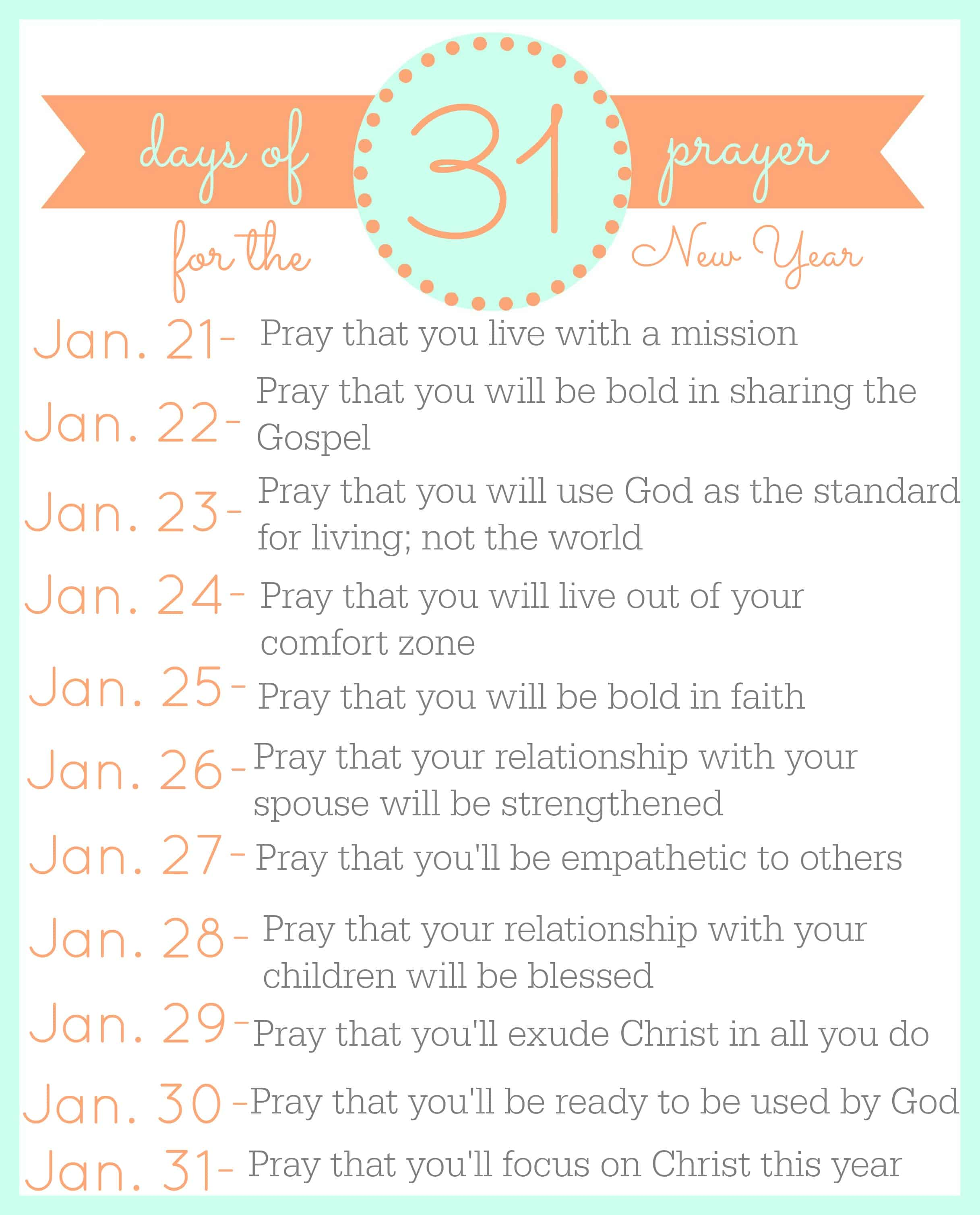 31 Days of Prayer for the New Year p. 3 Faith Along the Way