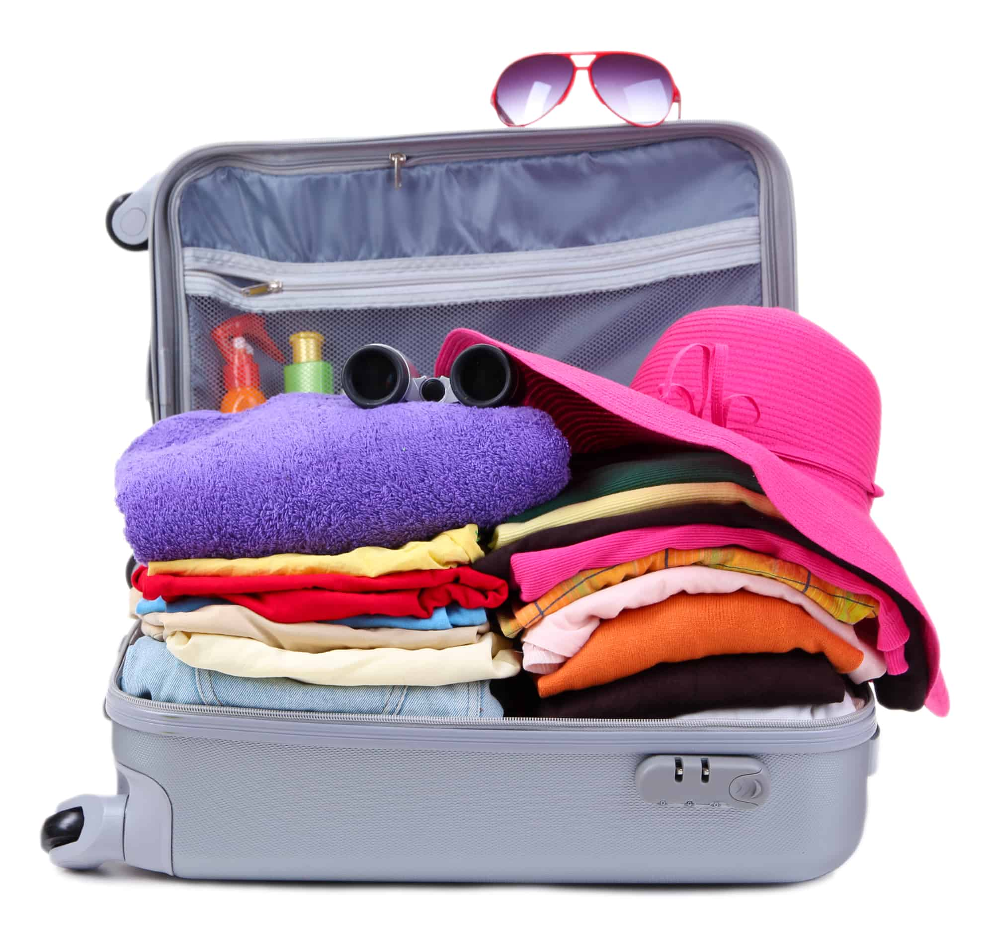 Open silver suitcase with clothing isolated on white as a summer organization tip