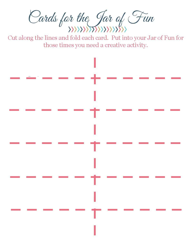 Blank Cards for the Jar of Fun I Faith Along the Way