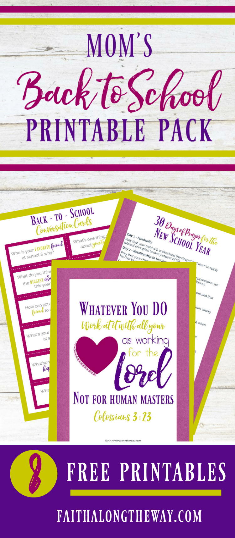 It's almost time for back to school! Make the transition to a school routine simple and easy with Mom's Back to School Printable Pack! Plus, the 30 Days of Prayer for the New School Year printables included will help you prepare your child's heart for the journey ahead.