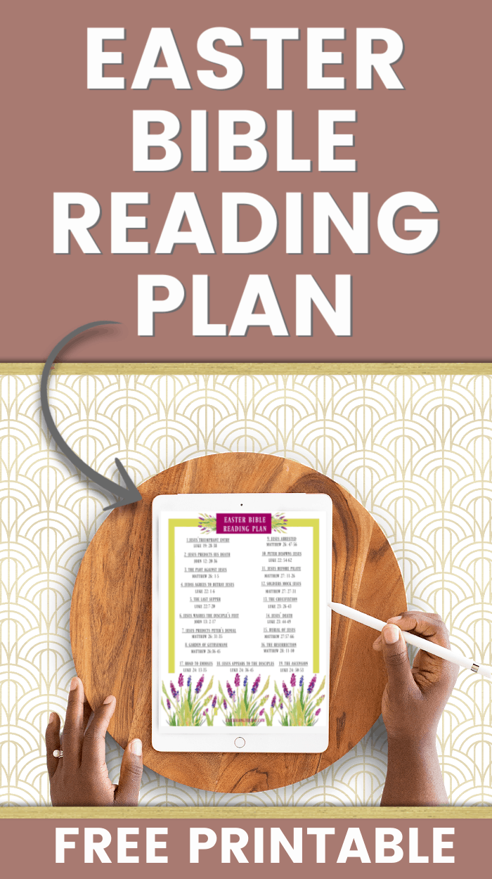 EASTER BIBLE READING PLAN MOCKUP ON A TABLE