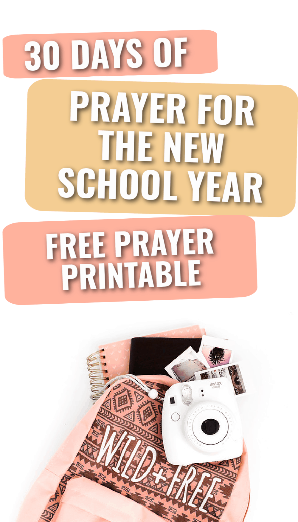 Title- 30 days of prayer for the new school year picture- bookbag with school supplies