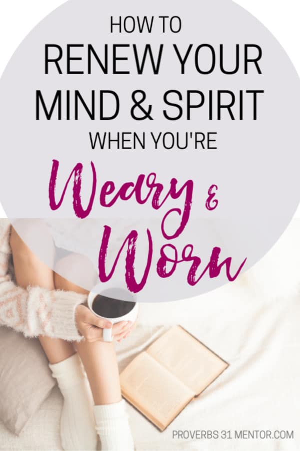 Is your spirit weary and worn thin? Discover how to renew your mind with biblical truths and lay down your burdens at the foot of the cross.