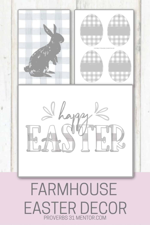 Farmhouse Scripture art prints: bunny on buffalo check, buffalo check Eater eggs, Happy Easter sign