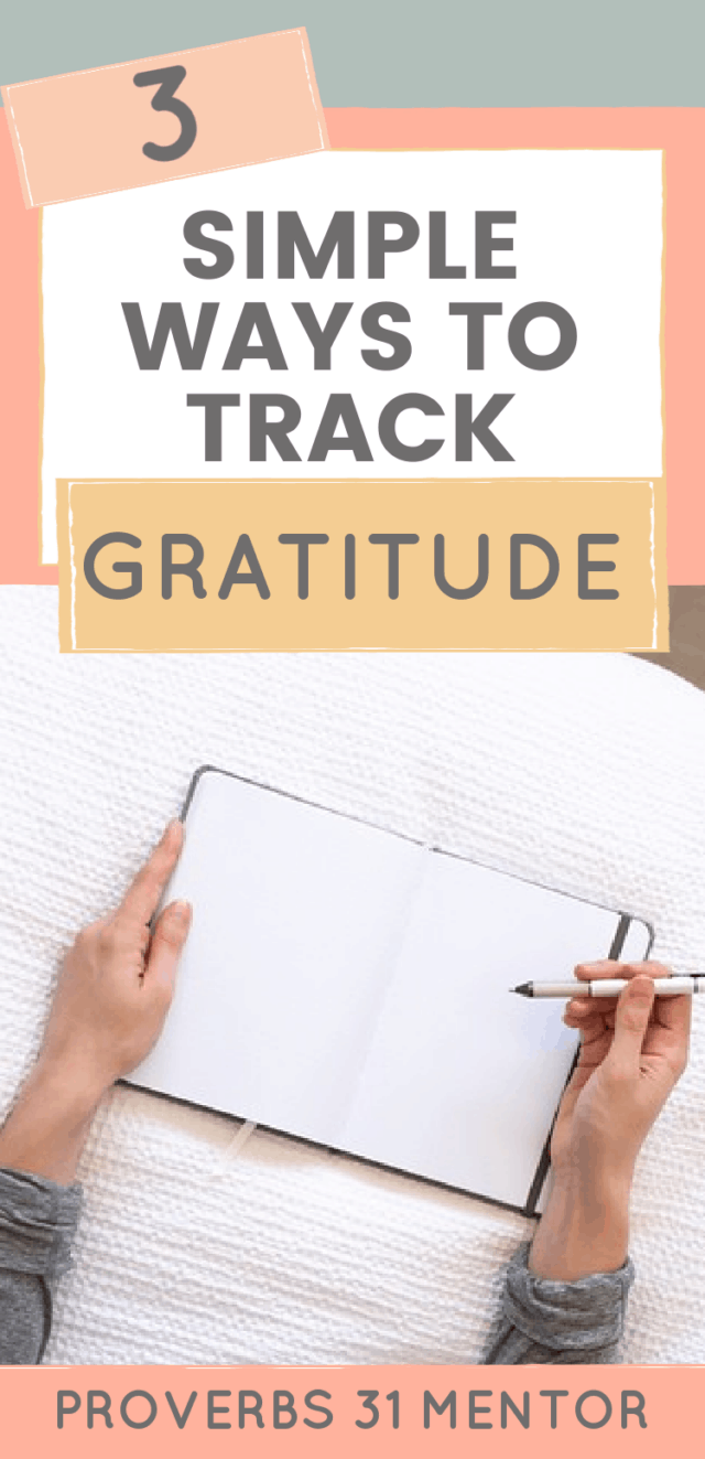 Title: 3 Simple Ways to Track Gratitude Picture- woman writing in prayer journal