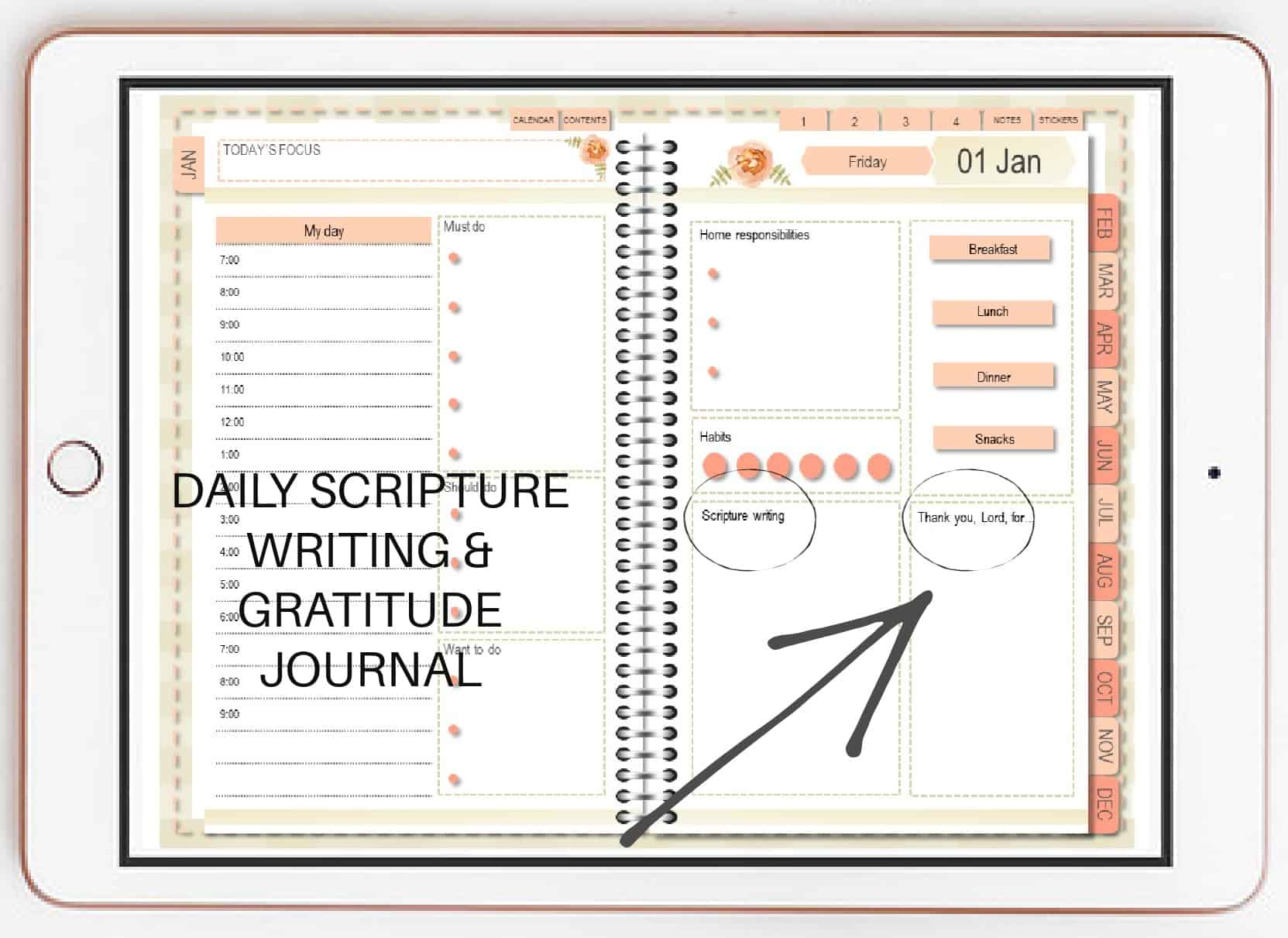 picture of the Abundant Life Planner and the daily Scripture writing and gratitude journal layout