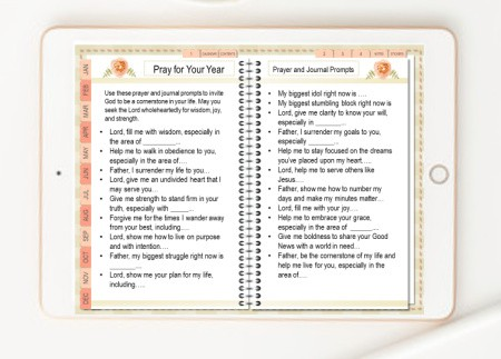picture of the Abundant Life Planner open to the Pray for Your Year Section
