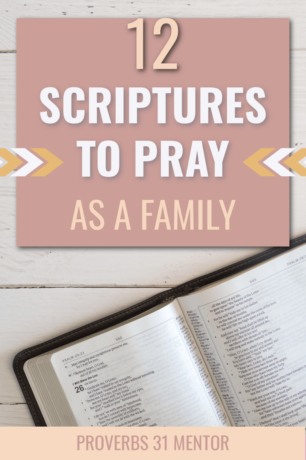 title: 12 Scriptures to Pray as a Family  Picture: open Bible on wooden table