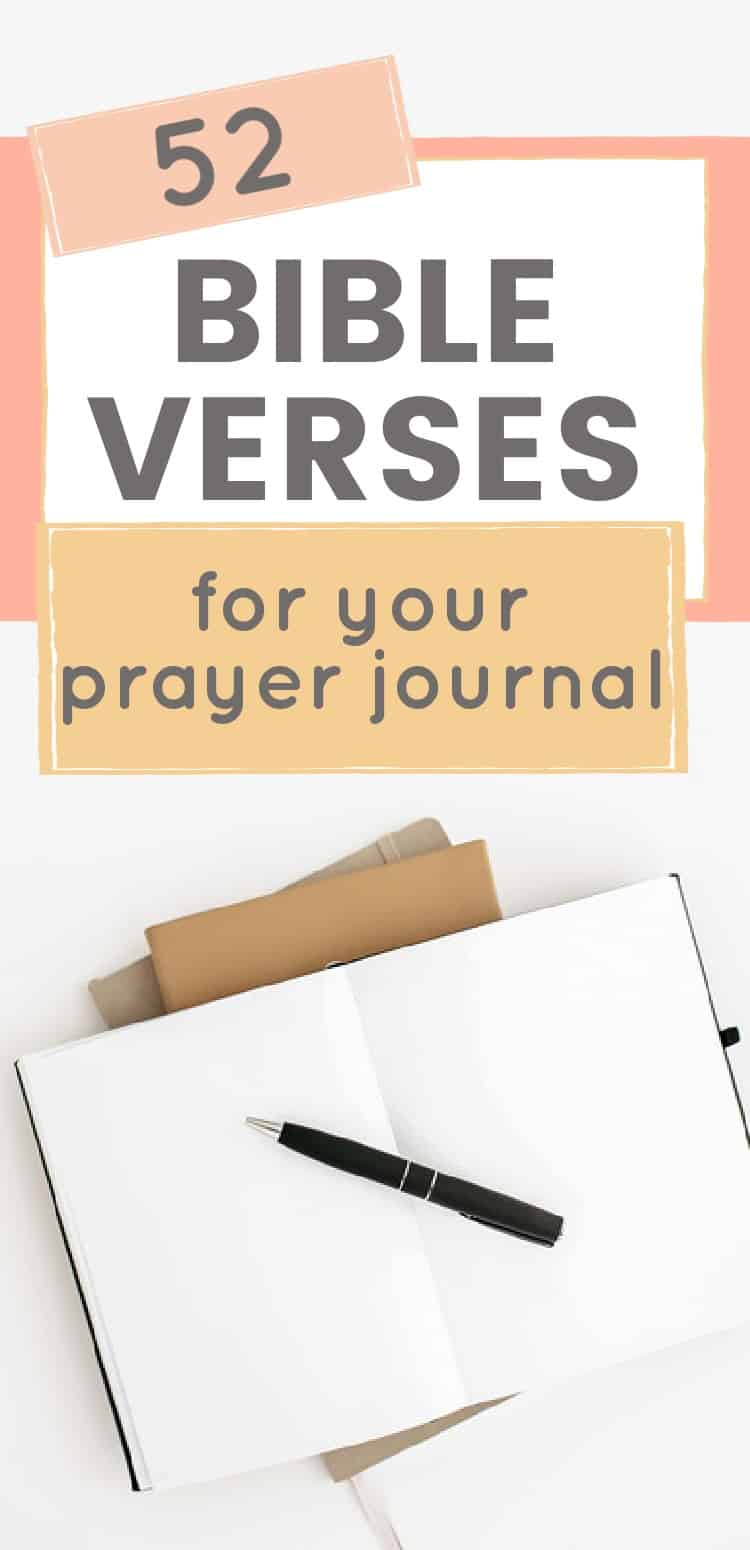 Title: 52 Bible Verses for your prayer journal picture- open Bible journal