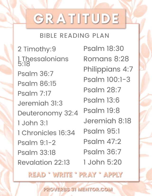 Gratitude Bible Reading Plan